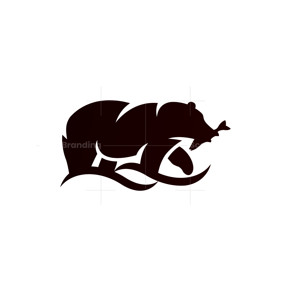 Fishing Grizzly Bear Logo