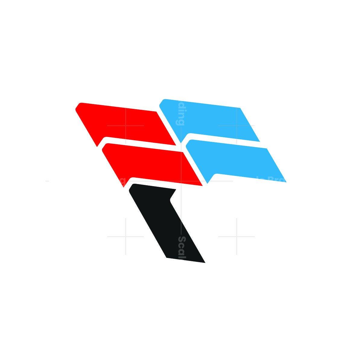 f flag letter logo