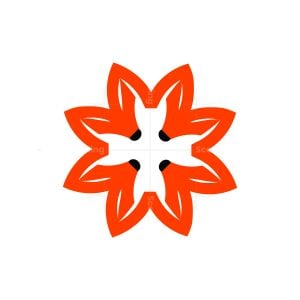 flower fox symbol logo