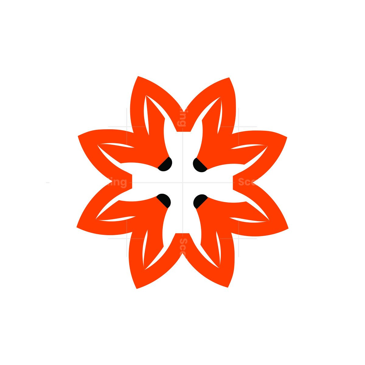 flower fox symbol logo