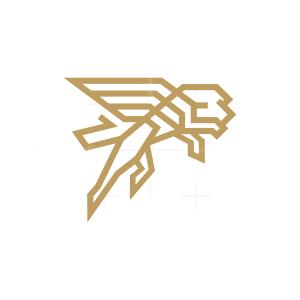 Winged Flying Lion Logo