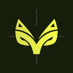 gold fox head animal logo