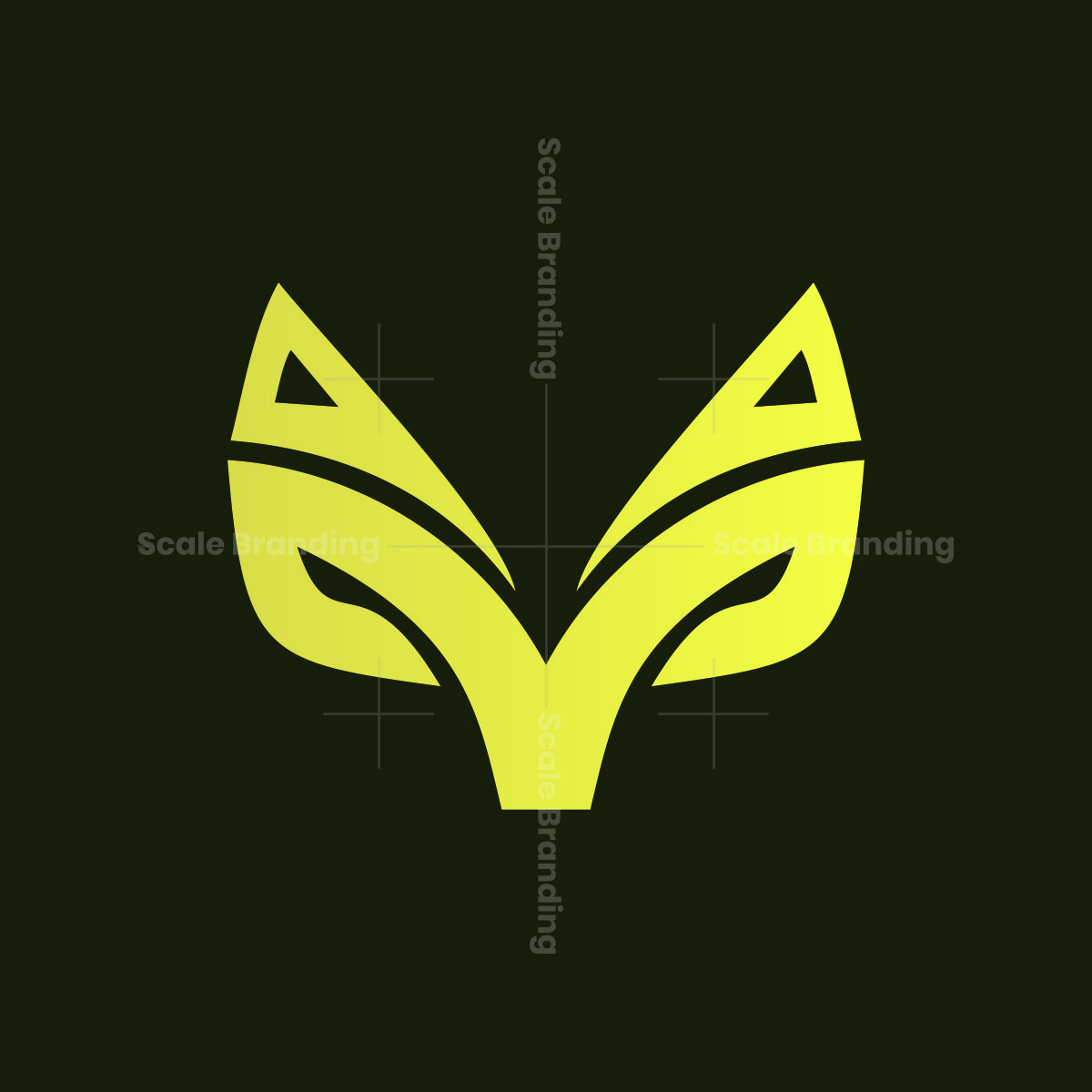 gold fox head animal logo