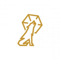 Golden Moon Howling Wolf Logo
