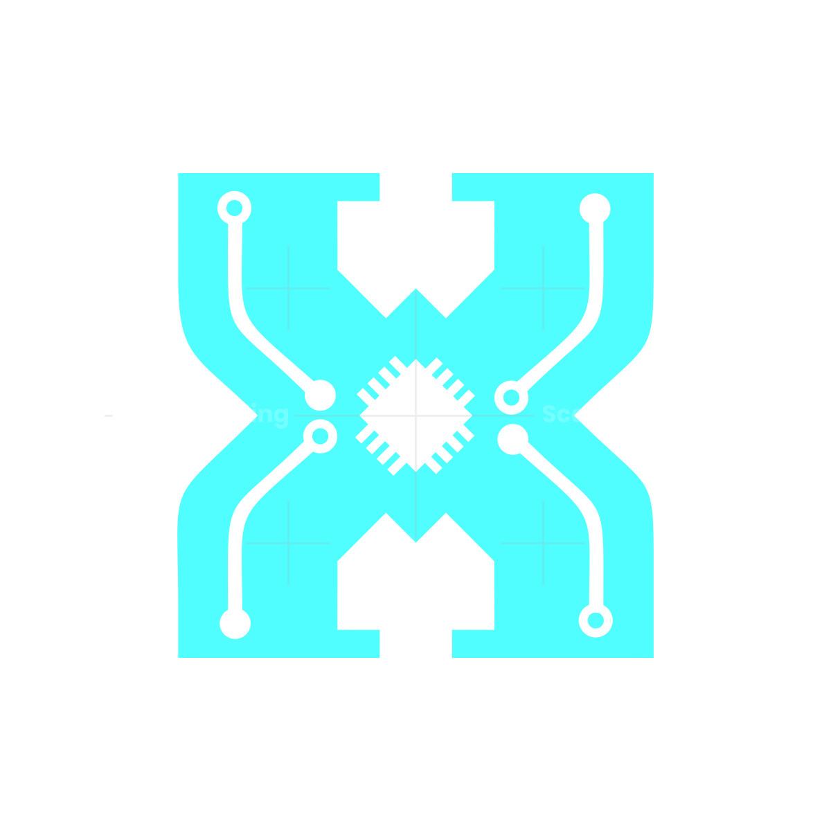 initial h tech letter logo