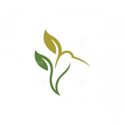 Nature Leaves Hummingbird Logo