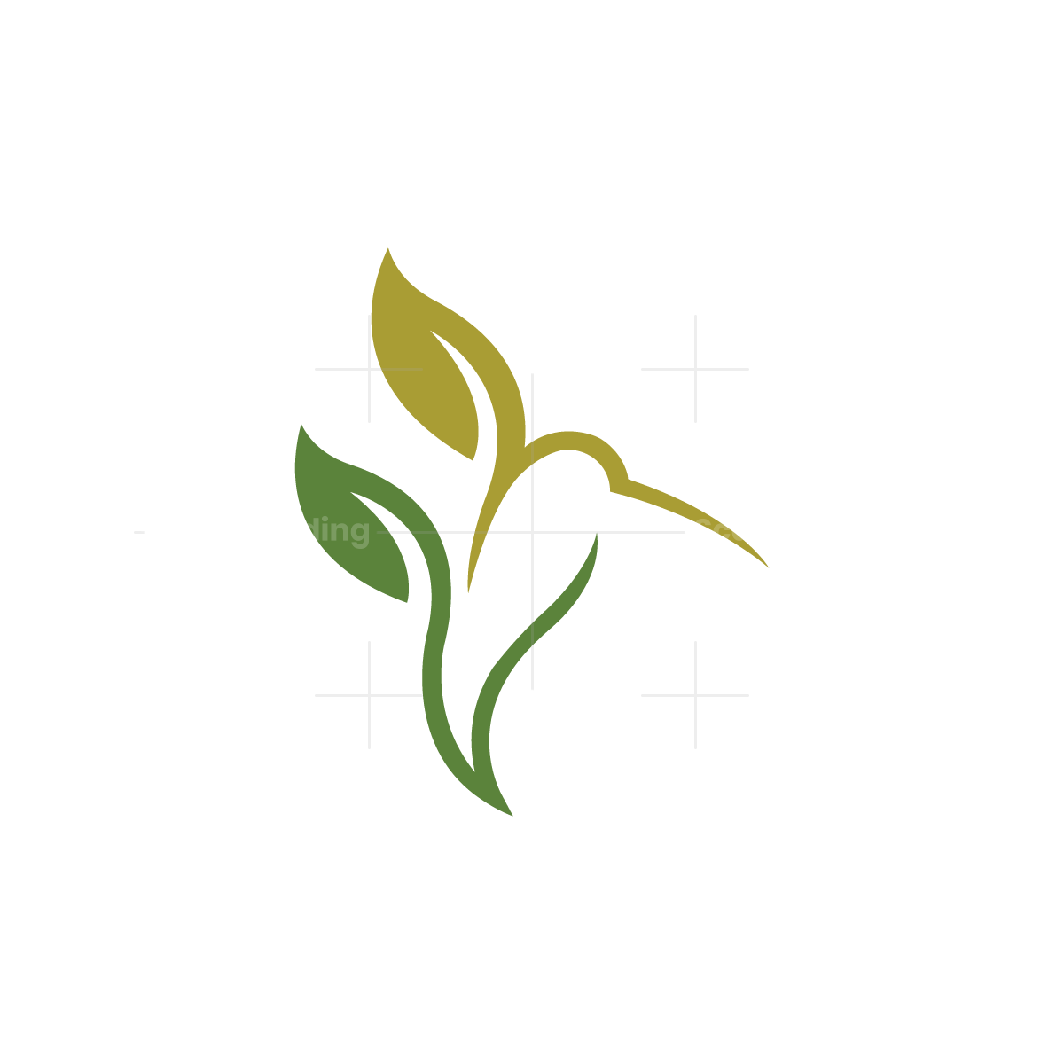 Nature Leaves Hummingbird Logo