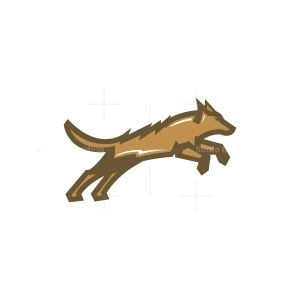 Leaping Jumping Wolf Logo