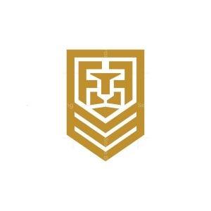 Letter F Shield Lion Logo