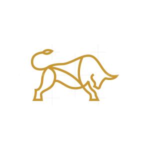 Linear Golden Bull Logo
