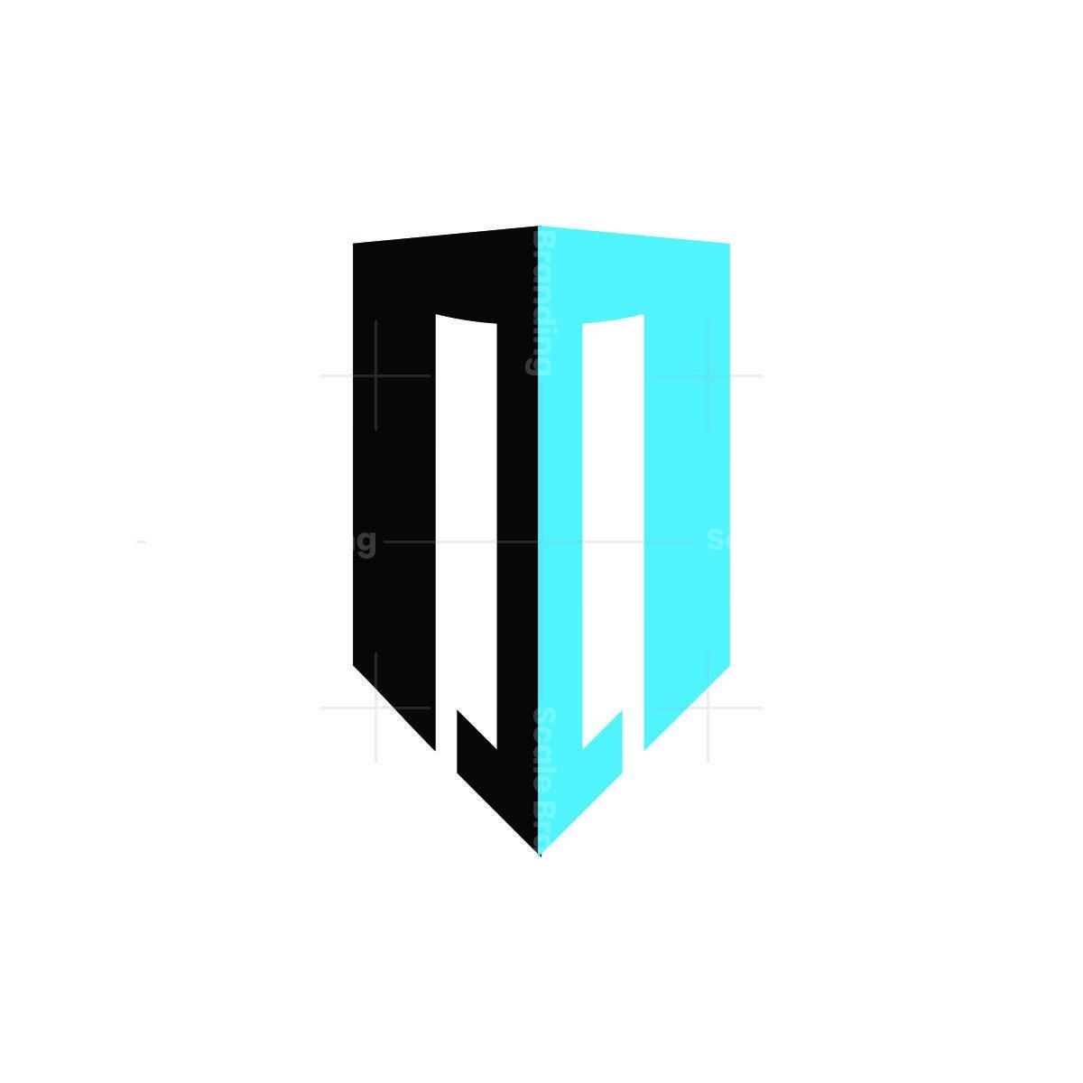 m arrow building letter logo