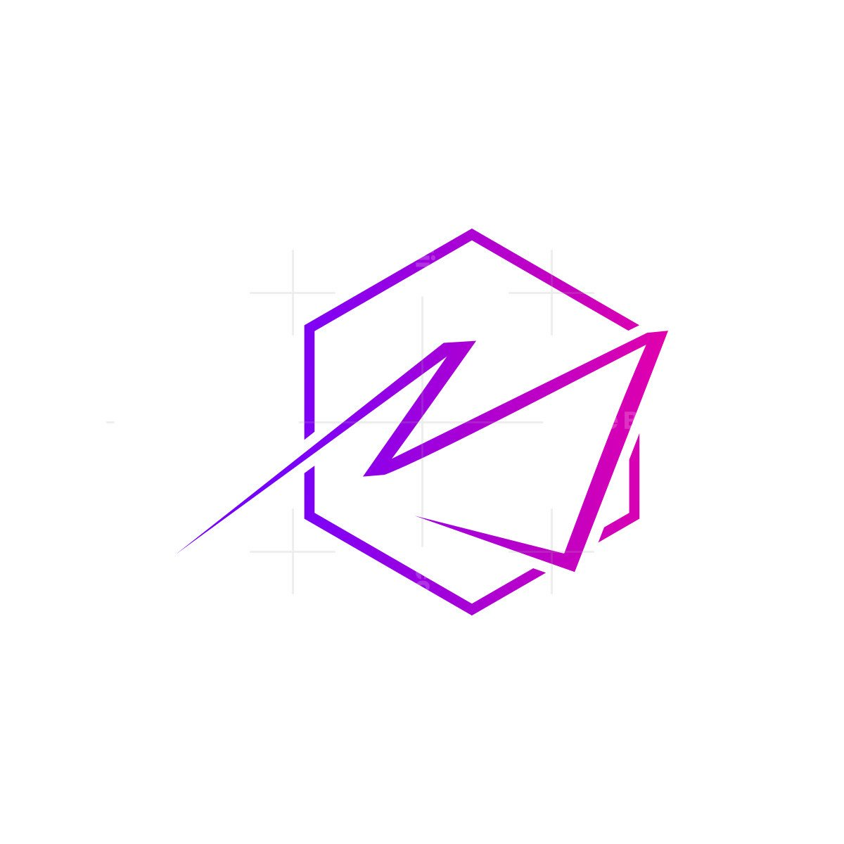 stylish initail m with hexagon letter logo