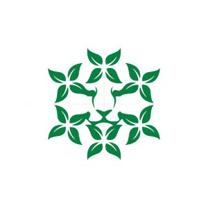 Nature Leaves Lion Head Logo
