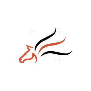 Lines Flying Pegasus Logo