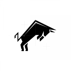 Black Attacking Taurus Logo Bull Logo