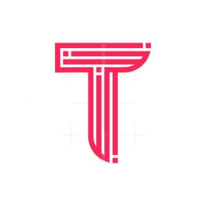 Stylish Initial T Letter Logo