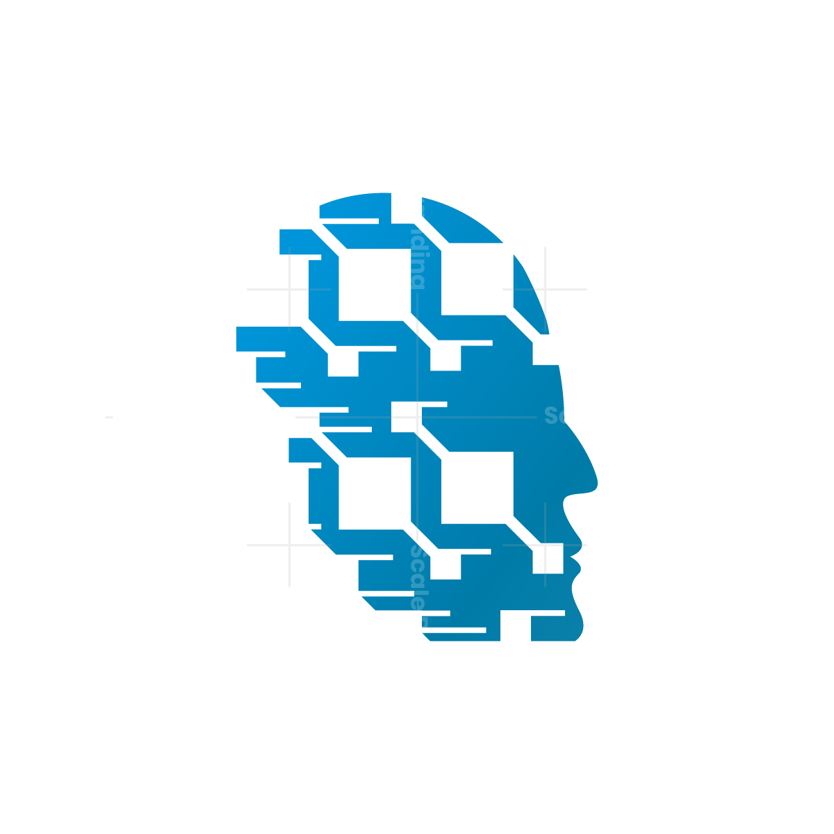 Cyber Technology Human Head Logo