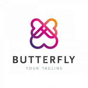 Flying Butterfly With Love Hearts Logo