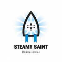 Steamy Saint Ironing And Laundry Service Logo