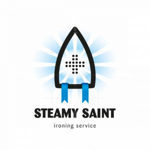 Steamy Saint Ironing And Laundry Service Logo