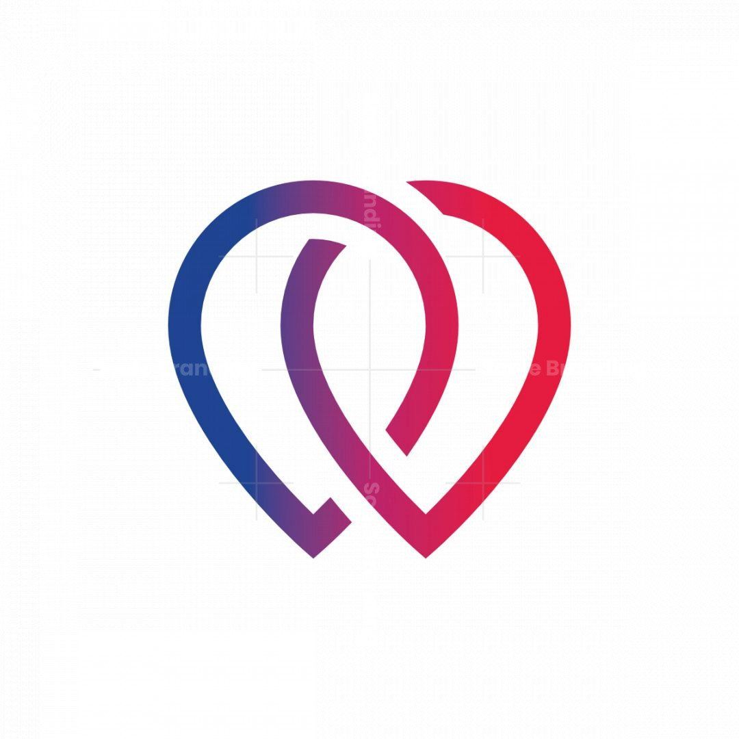 Futuristic Heart Or Water Droplets Logo