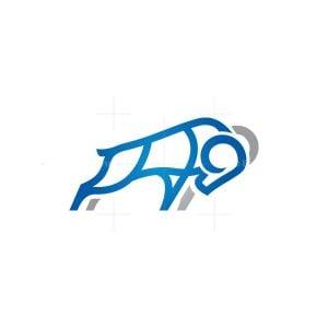 Blue Silver Ram Logo Goat Logo