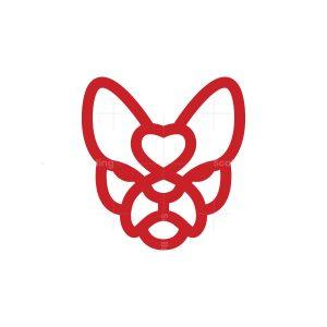 Heart Love French Bulldog Logo