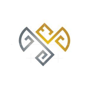 Gold Silver Glyph Dragon Logo