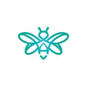 Letter A Flying Bee Logo
