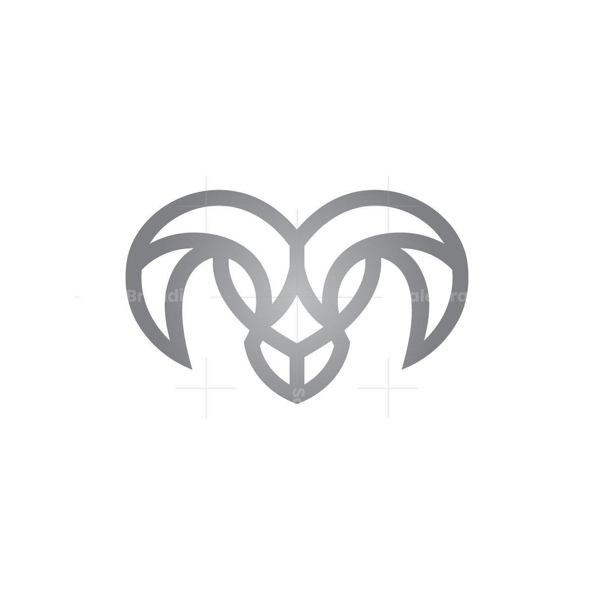 Silver Ram Goat Head Logo