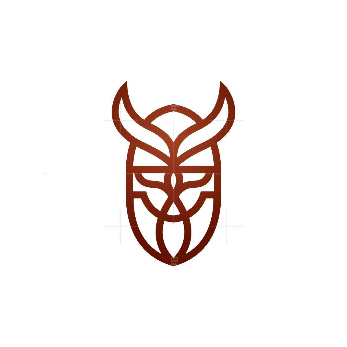 Monoline Viking Head Logo