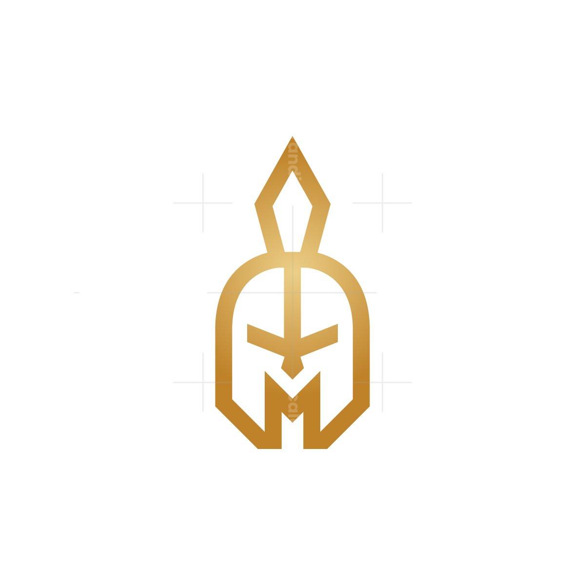 Golden Letter M Spartan Logo