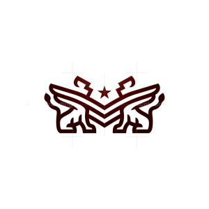 Military Rank Winged Lions Logo