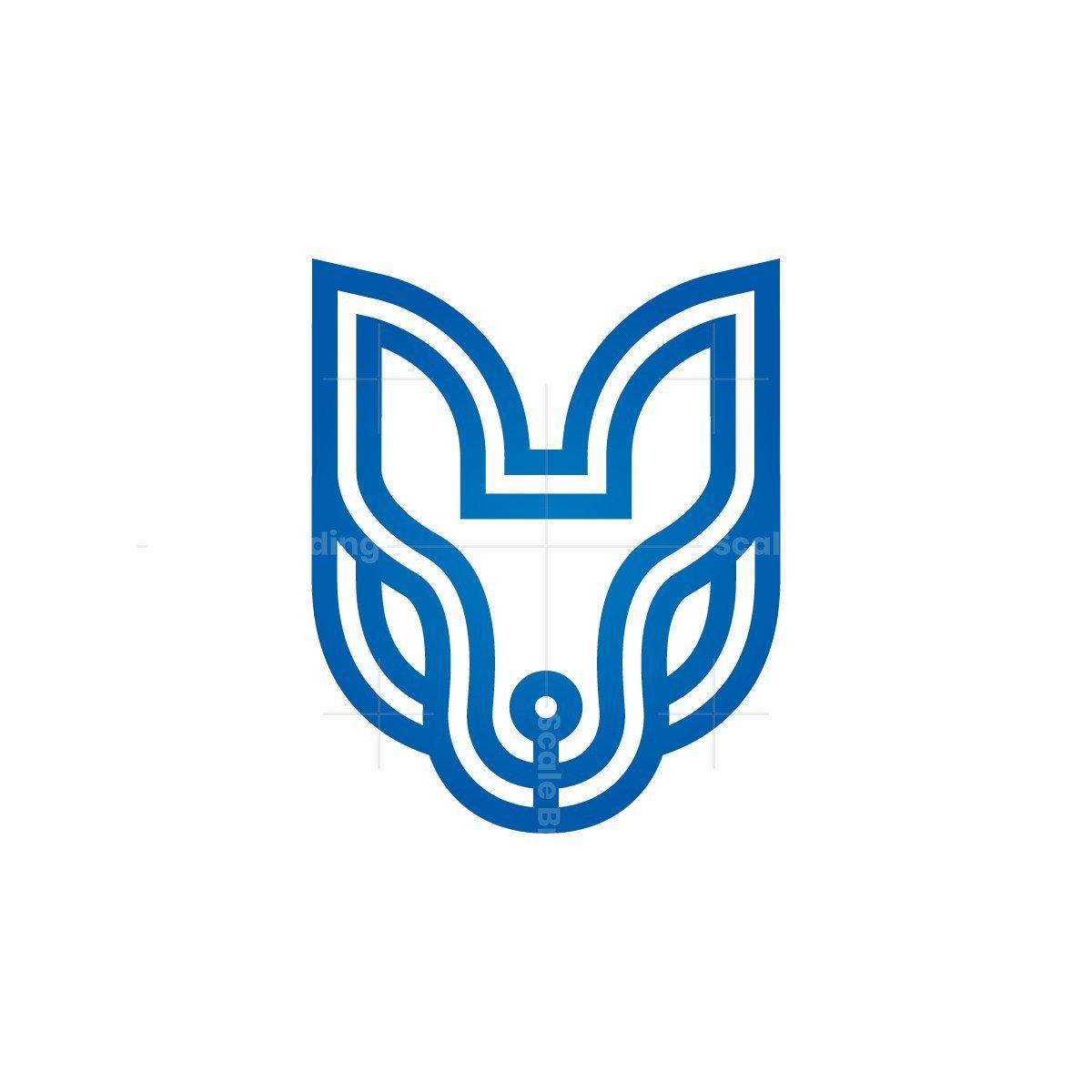 Lines Blue Wolf Head Logo