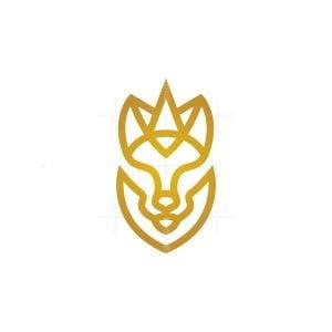Golden Crowned Royal Wolf Logo
