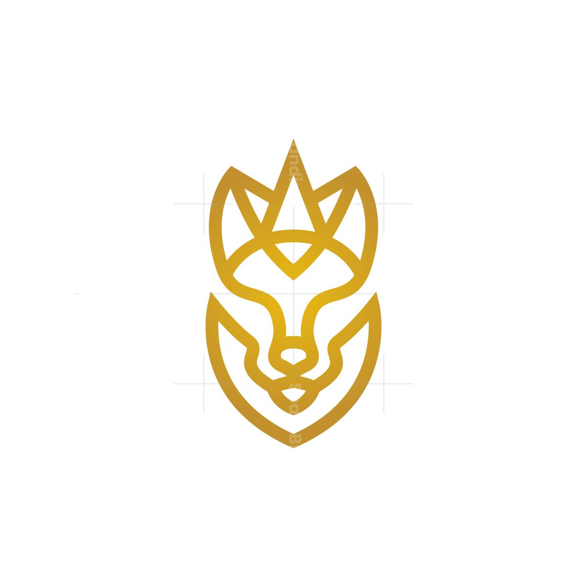 Golden Royal Wolf Head Logo