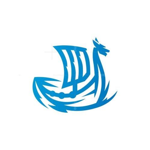 Blue Viking Ship Logo