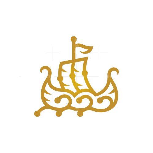 Golden Viking Ship Logo