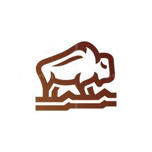 Walking Brown Bison Logo Buffalo Logo