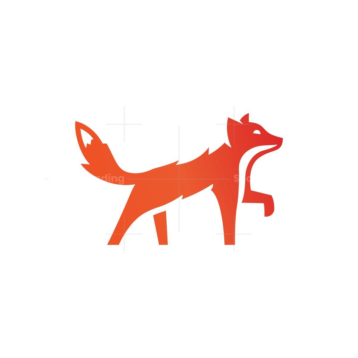 Walking Stylized Fox Logo