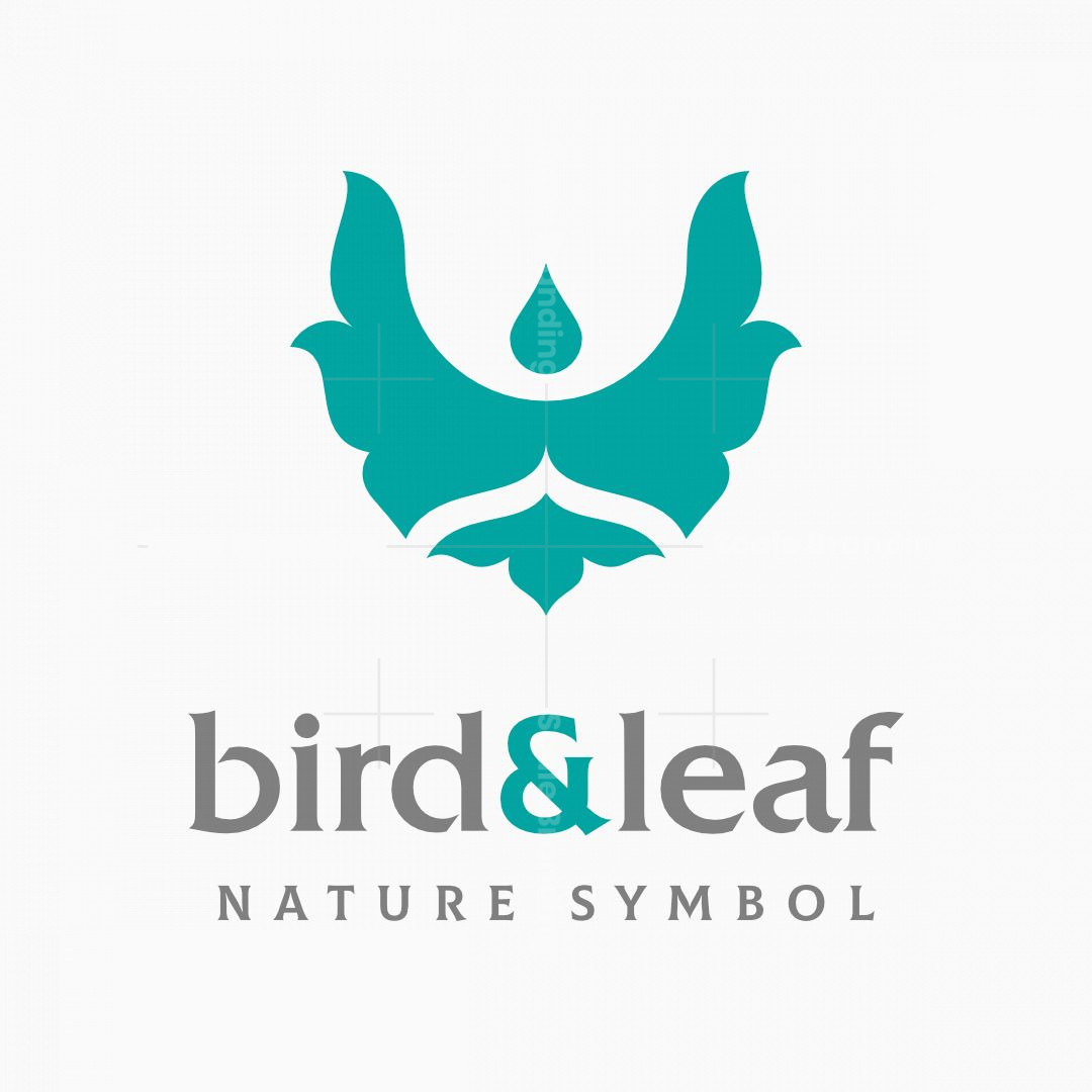Abstract Letter V Bird And Leaf Logo