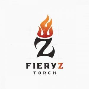 Fiery Letter Z Crown Or Torch Logo
