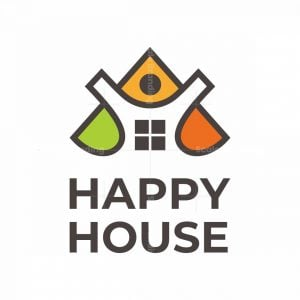 Letter A Happy House Logo