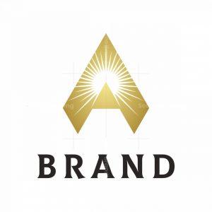 Letter A Pyramid Sunrise Logo