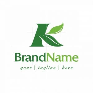 Letter K With Leaves Logo