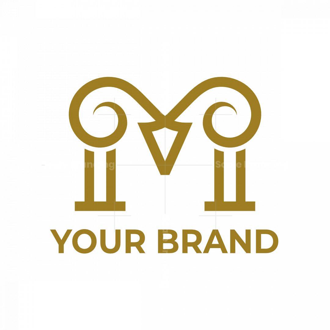 Letter M Ram Goat Logo