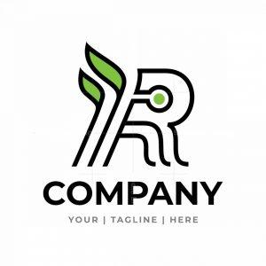Letter R With Leaf Logo