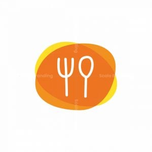 Modern Food Logo With Fork And Spoon