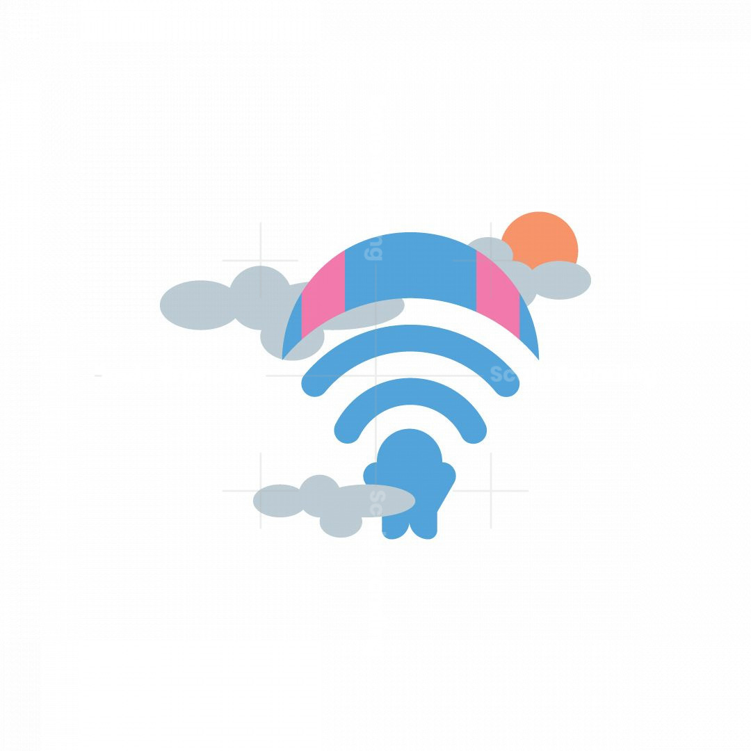 Skydiving Wifi Icon Logo