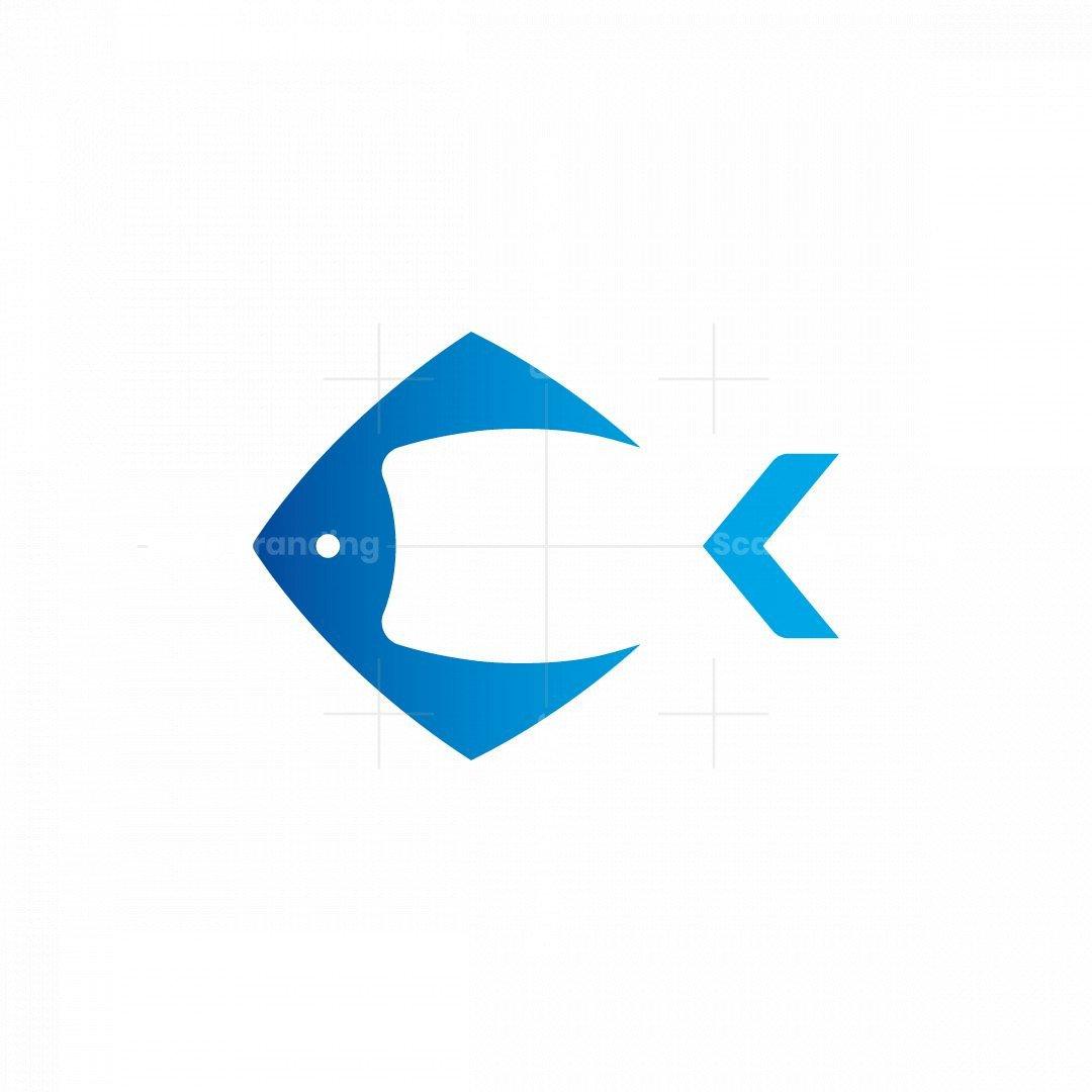 Unique Letter C Fish Logo Design